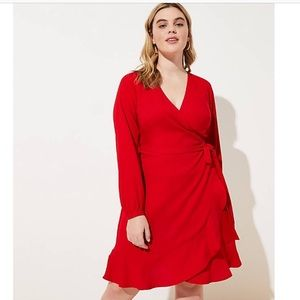 Red satin ruffle wrap dress